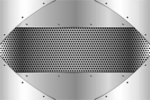 metallische Silberplatten mit Schrauben auf perforierter Textur vektor