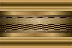 Metallic-Goldplatten mit Schrauben auf perforierter Textur