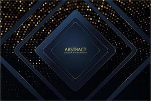 Metallische Rahmen mit blauem Diamanten über leuchtenden goldenen Punkten vektor