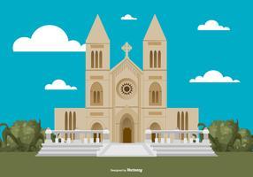 Wohnung Stil Abbey Gebäude Illustration vektor