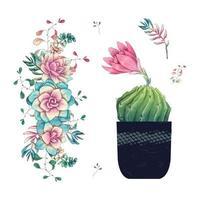 Sukkulenten und Blumen im Topf handgezeichnetes Aquarell
