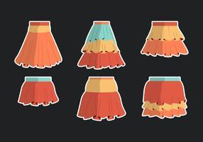 Färgglada Frills Kjolar Vektor Samling