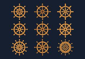 skepps hjul ikoner samling vektor