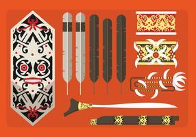 Etnisk mönster Indonesisk Dayak Culture Vector Flat