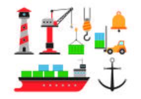 Set Hafen-Ikonen vektor