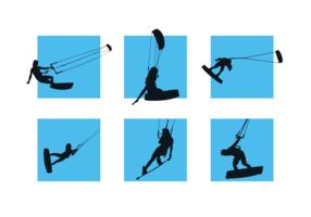 kitesurfing silhuetter fri vektor pack
