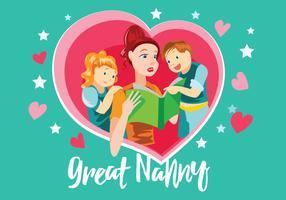 Stor Nanny med Kids Vector