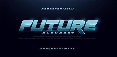 sport framtid blå glöd modern typsnitt vektor