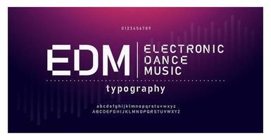 elektronisk dansmusik framtida kreativt teckensnitt vektor