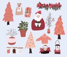 jul söt tecknad element inomhus dekor uppsättning