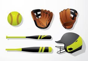 Softball Utrustning Gratis Vector