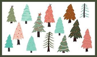 niedliche weihnachtsbaumelemente vektor
