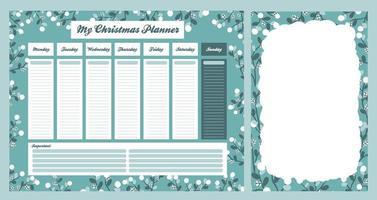 wöchentlicher Weihnachts-Tagesplaner im skandinavischen Stil vektor