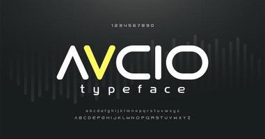 digital musik modernt alfabet och siffror typsnitt vektor