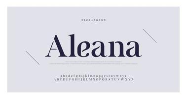 elegante Serifenzahl und Buchstabenschrift