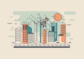 Lineman i stadsvektor vektor