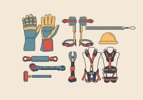 Lineman Werkzeuge und Geräte Vektor