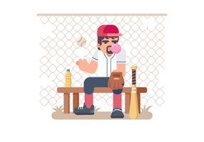 Softball Pitcher sitzen auf einem Bank-Vektor vektor