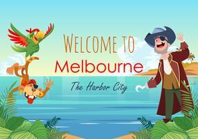 Willkommen in Melbourne Vektor-Szene vektor