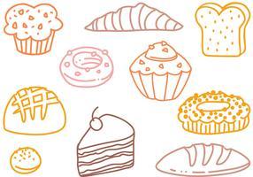 Kostenlose französische Pastry Doodle-Vektoren vektor