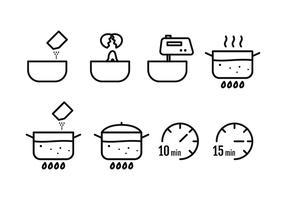 Matlagningsinstruktion Ikoner vektor