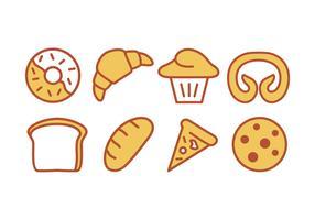bake och bakeri ikonuppsättning vektor