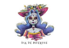 Sexig Catrina-karaktär med kurvigt långt hår för Dia De Los Muertos Vector