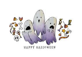 Söt skrämmande tecknad Halloween spöken tecken vektor