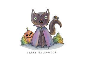Nette Vampir-Katze, die mit Kürbis-Vektor lächelt