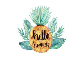 Hej sommar vattenfärg ananas med tropiska löv vektor