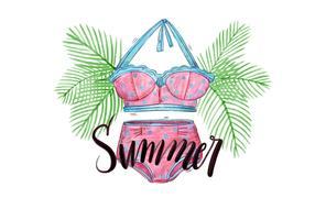 Vektor akvarellpalmer och bokstäver med badkläder för sommarsemester