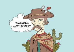 Wild West Serious Cowboy Wear Hat Vector