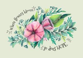 Akvarellbukettblomma och löv med citat