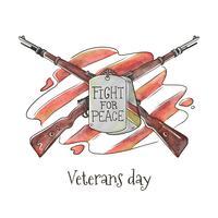 Riffle mit amerikanischer Flagge mit Zitat-Kampf für Frieden