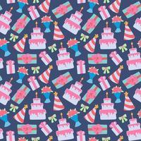 nahtloses Muster mit Kuchen und Blumen