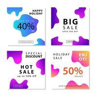 sociala medier postmallar med flytande gradientformer