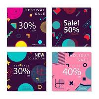 sociala medier postmallar med trendiga geometriska former
