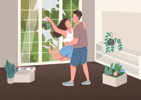 junges Paar mit neuem Wohnungsschlüssel vektor