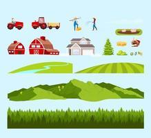 Dorfarbeiter und Felder Objekte gesetzt vektor