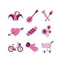 Valentinstag und Einkaufsobjekte gesetzt vektor