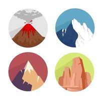 berg ikoner set vektor