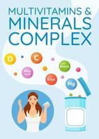 multivitaminer och mineraler komplex affisch vektor