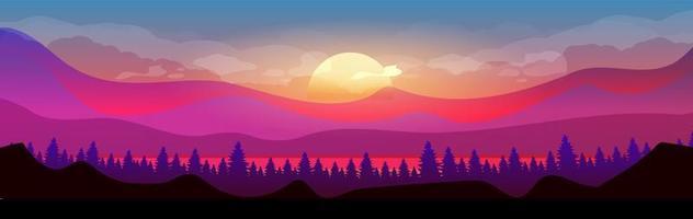 solnedgång i bergen vektor