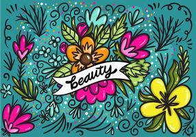 Schönheitsfahne mit Blumen-Vektor vektor