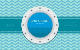 Bullauge Baby Dusche Vorlage Einladung Vektor