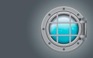 Submarine metal side porthole för undervattensvektor