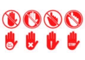 Set von nicht berühren Symbol