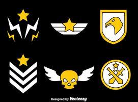 Militärabzeichen auf schwarzem Vektor