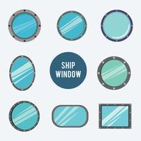 Schiffsfenster in flachen Design-Vektoren