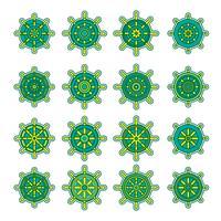 Schiffe Rad-Icon-Set vektor